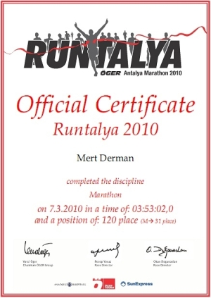 Runtalya 2010 Sertifika